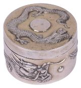 A Chinese export small silver box and coverearly 20th centuryof circular form, initialled on the