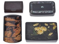 A Japanese inro and three other snuff boxesthe inro of five sections decorated in relief with