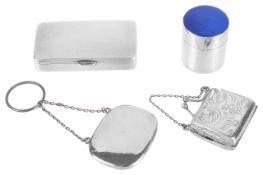 Four Contemporary novelty silver boxes, 20th centurya rectangular compartmentalised pill box; a