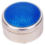 A continental white metal and blue guilloche pill boxthe screw top circular box stamped on the