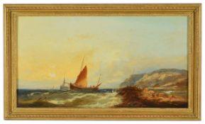 William Henry Williamson (British 1820 - 1883) 'Stormy scenes with rocky coastline', oil on canvas,