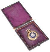 A J.W. Benson 18ct gold ladies half hunter pocket watchthe white enamel dial with roman hours, spade