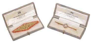 A delicate Edwardian sapphire and half pearl set bar brooch and anotherthe bar brooch marked 15ct