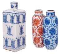 A 19th century Chinese blue and white and iron red double porcelain snuff bottle painted with