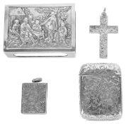 A collection of Victorian silver novelty itemsa silver vesta case, hallmarked Birmingham 1857 with