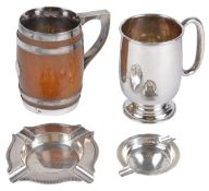 A Contemporary silver tankard, hallmarked Sheffield 1951 of typical form with rounded handled upon