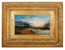 British School, 19th Century 'Marine scene at sunset' oil on board, signed indistinctly lower left
