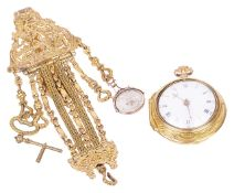 An 18th century pair cased pocket watch on an 18th century gilded chatelainethe gold cased watch