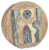 A Troika pottery wheel vase by Alison Brigden of circular form with abstract decoration