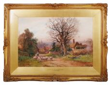 Henry Charles Fox R.B.A. (British 1855 - 1929) 'A Berkshire lane with sheep', signed lower right HC
