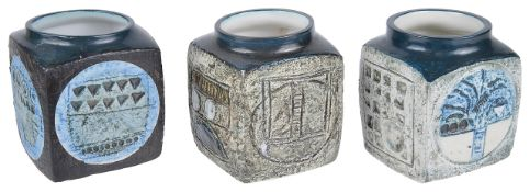 Three Troika pottery marmalade pots, 20th century of square forms with incised abstract decoration,