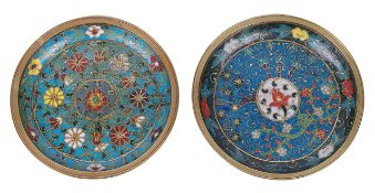 A pair of Chinese circular cloisonne dishes, late Mingboth with foliate and floral scroll decoration