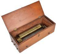 A cylinder key wind musical boxSwiss, third quarter 19th centuryno 12581, the 20cm cylinder