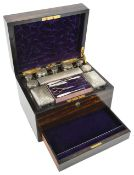 A Victorian coromandel silver ladies' travelling vanity casethe simple rectangular case opening to