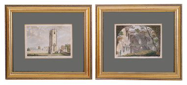 A collection of eleven prints of landscapes and castles in Yorkshire, Sussex and France, framed