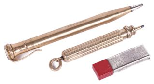 A 9ct gold Eversharp pencil, with clip holder and fitted case and lead refills, the pencil body