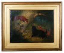 Edward Armfield (British 1817-1896) 'Terriers facing a fox' oil on canvas, signed lower left, gilt