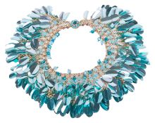 An impressive vintage 1950's iridescent collar necklace, original Harrods boxthe necklace