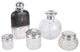 A small collection of silvercomprising a half leather covered hip flask with viewing window and a