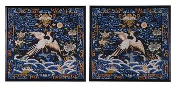 A pair of Chinese silk embroidered rank badges Buzi, late Qingof a bird in flight, finely worked