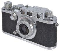 An Ernst Leitz Wetzlar Leica III cameraserial number 534343, Emlar f = 5cm 1:3.5 lens, with