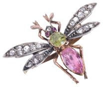 A delightful early Victorian diamond and gem wasp cliphaving pink topaz set thorax and peridot to