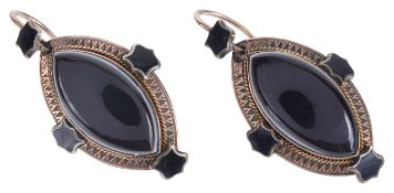 A pair of Victorian Etruscan style banded agate and enamel drop earringsthe marquis shaped banded