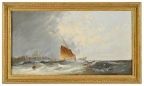 William Henry Williamson (British 1820 - 1883 )'Stormy seas' signed W H Williamson 1870 lower left,