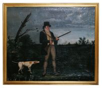 British school, 18th century 'Hunter and hound', oil on canvas, unsigned, in a gilt frame