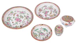 A small collection of Chinese famille rosecomprising three dishes of graduating size, a miniature