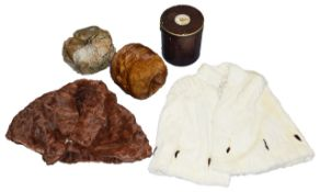 Two vintage fur capes, hat and muffthe former brown short cape with marcasite fastener, the second a