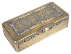 A John Jones George IV silver-gilt hunting snuff boxthe engine turned case hallmarked London 1824,