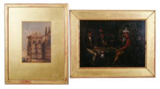 19th century Dutch school, 'Gamblers at the Inn', oil on board