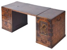 A late 19th century Japanese Hakone wear parquetry miniature desk or cabinetone side with cupboard
