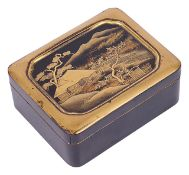 A small early 20th century Japanese gilt lacquer box and coverthe lid decorated with a house and
