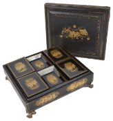 A late 19th century Chinese lacquer gaming boxof rectangular form, with gilt decoration to the