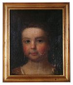 British School, 18th century 'Portrait of a young girl', oil on canvas, indistinctly signed