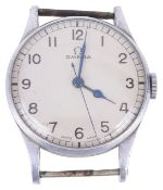An Omega bi-metal gentlemans wristwatch supplied to the Air Ministry the circular white dial with