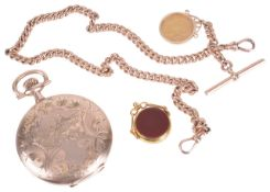 A 9ct rose gold curb link watch Albert chain with gold half sovereign fob and a 15ct gold hard stone