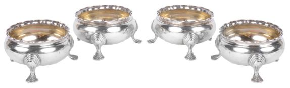 A set of Victorian four silver salts, hallmarked London 1868/1878each of circular form with fluted