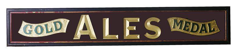 A contemporary pub sign ' Gold Medal Ales'