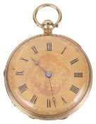 An 18ct gold ladies pocket watch, the gilt dial with roman hours, black spade hands, the case back