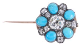 A large attractive early Victorian diamond and turquoise set floral cluster pinconverted to and from