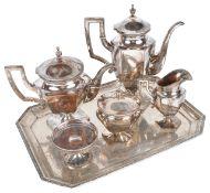 A German five piece silver tea service by H Meyen & Co. Berlinof hexagonal pedestal form with beaded