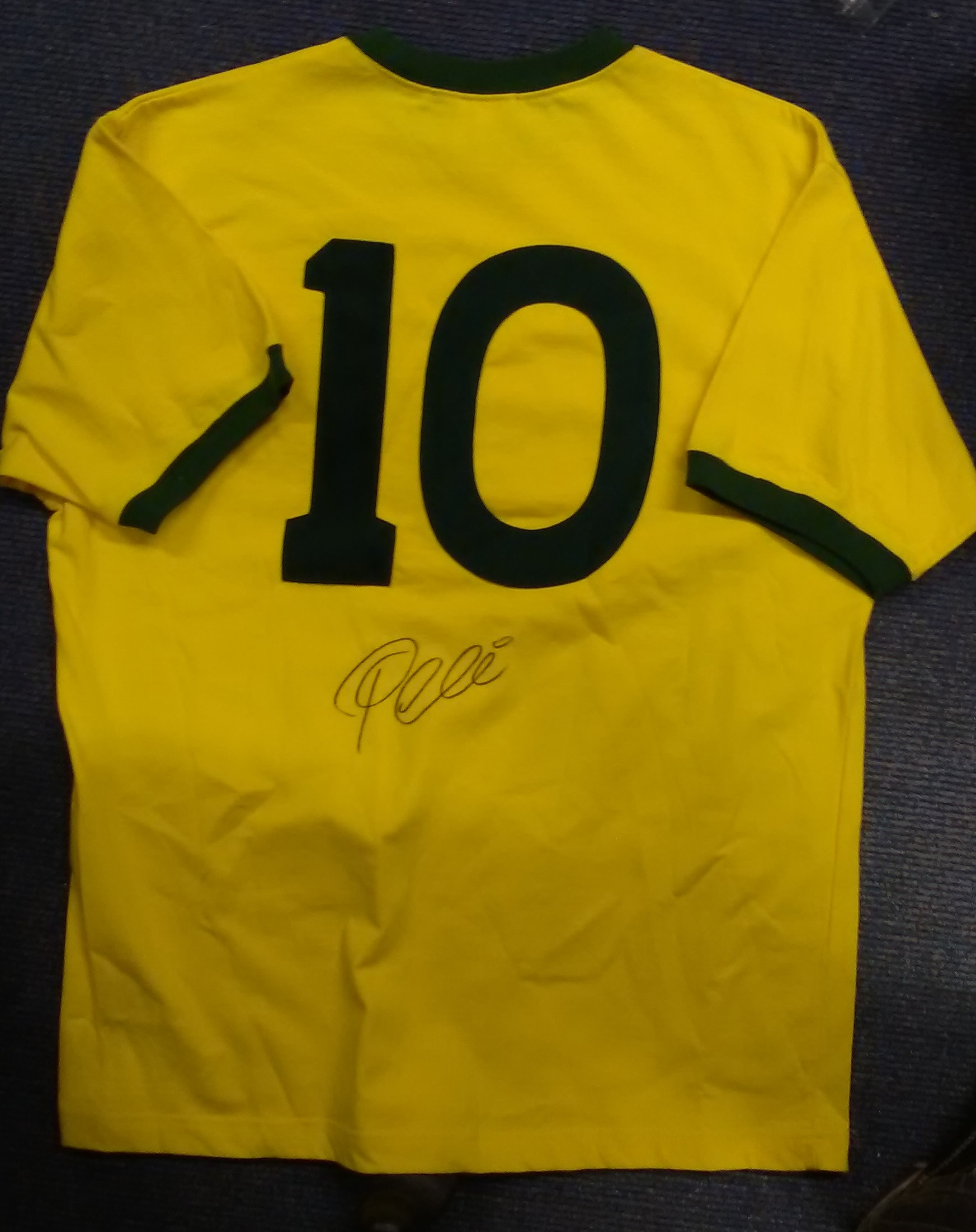 Lot 55 - Pele signed replica yellow Brazil number 10 football shirt. Has A1  sporting 559f44fca