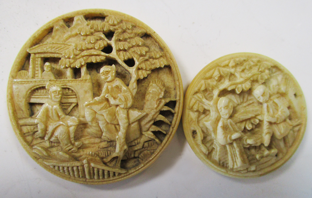 An ivory puzzle box two counter boxes with counters the