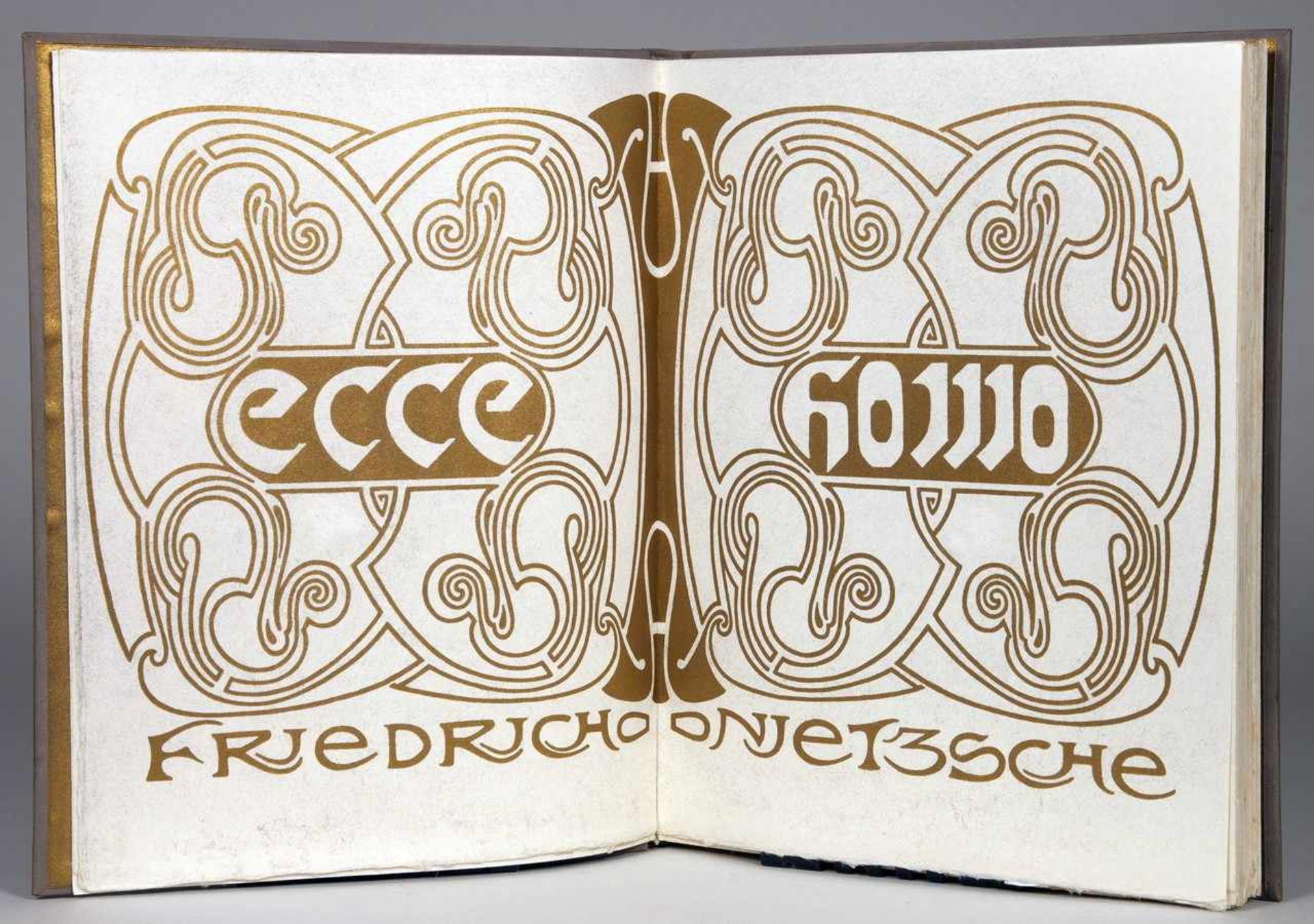 Insel Verlag - Friedrich Nietzsche. Ecce Homo. Leipzig, Insel [1908]. Mit illustriertem - Bild 2 aus 2