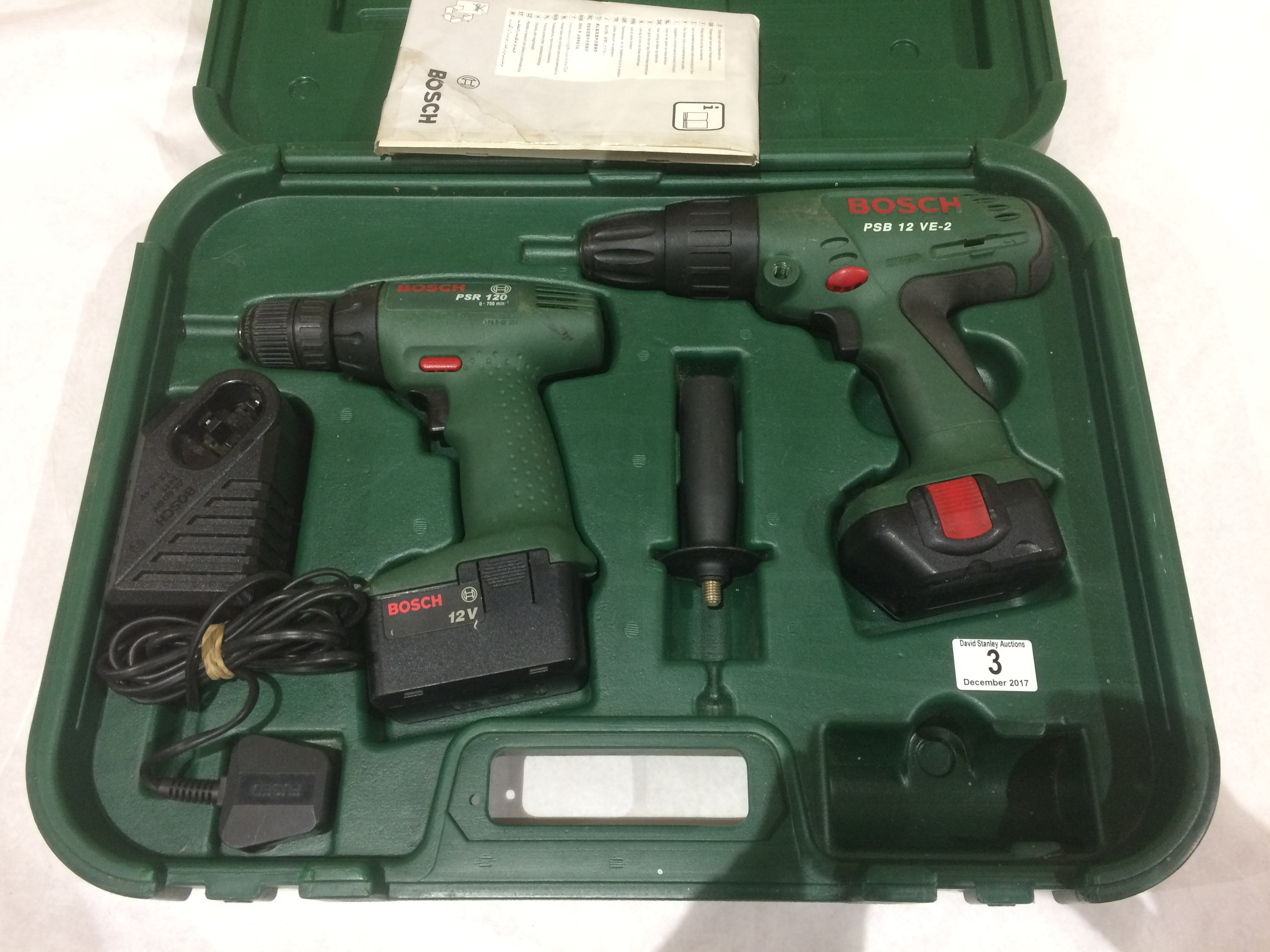 Lot 3 - BOSH PSB12 & PSR120 cordless drills as new