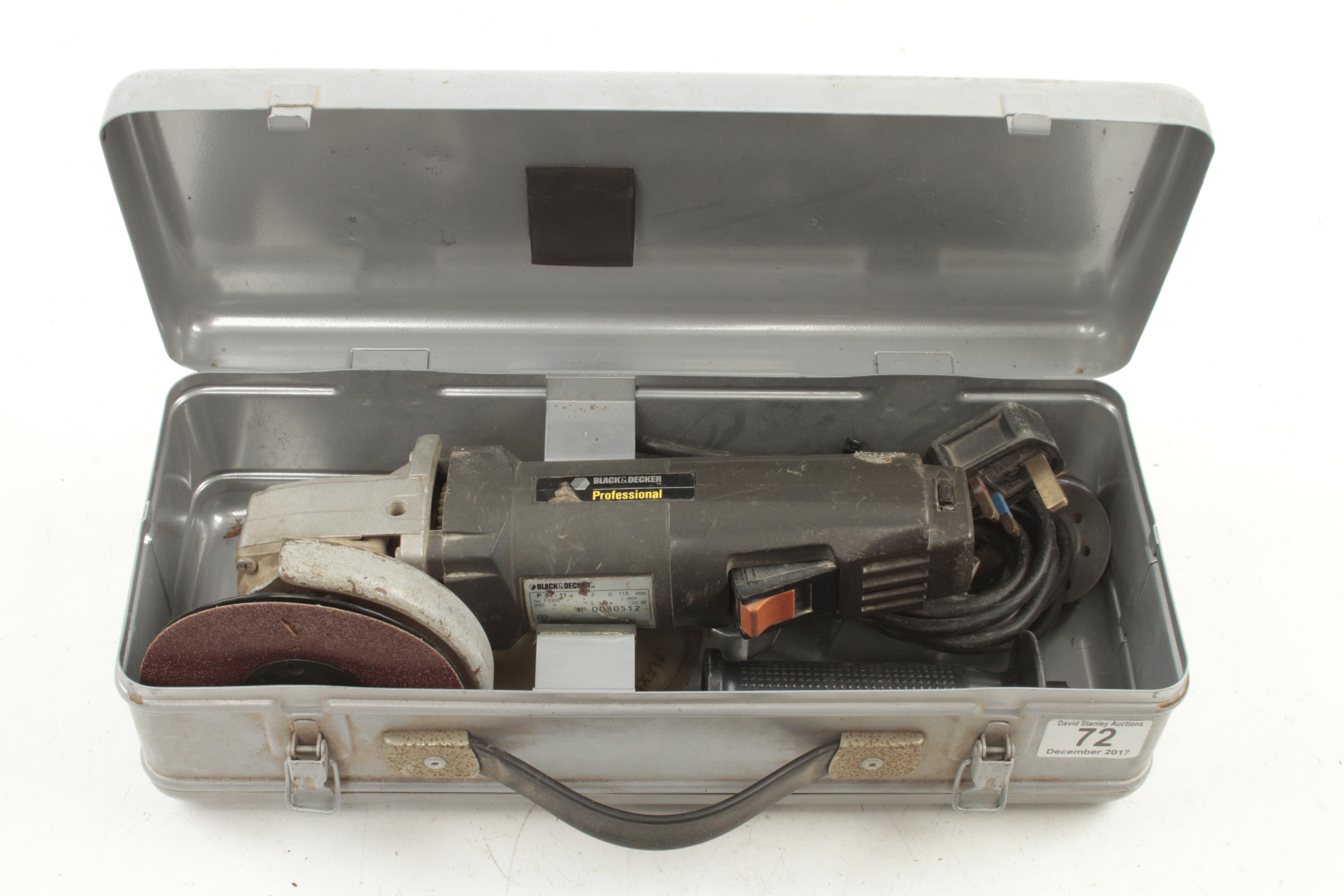 """Lot 72 - A BLACK & DECKER 4"""" angle grinder in orig case G"""