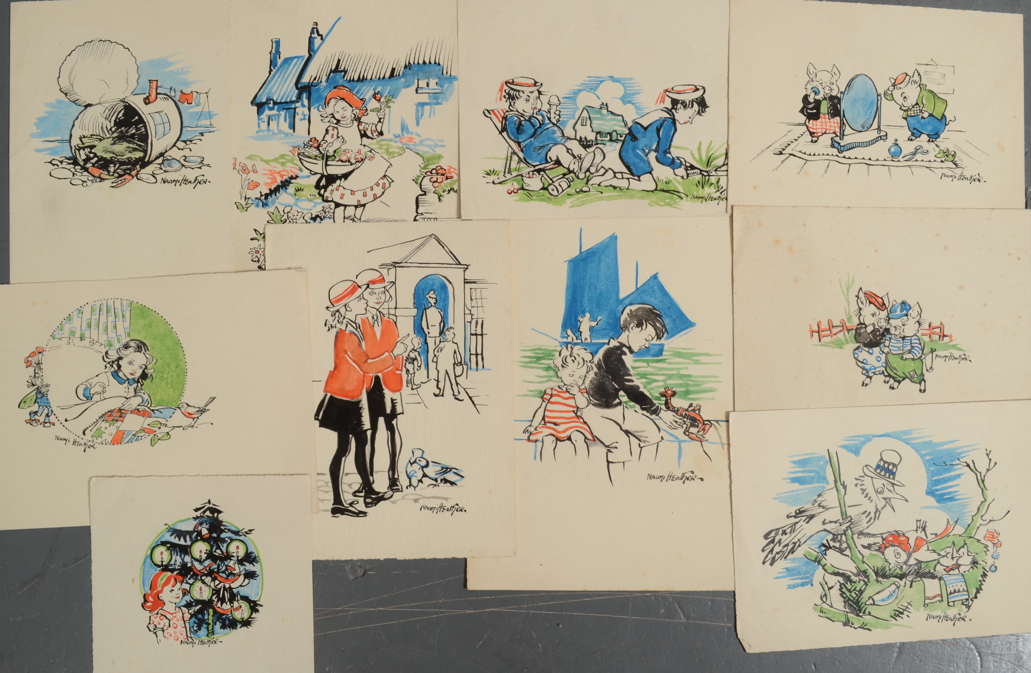 Lot 19 - NAOMI HEATHER Watercolour Illustrations Various sizes and themes
